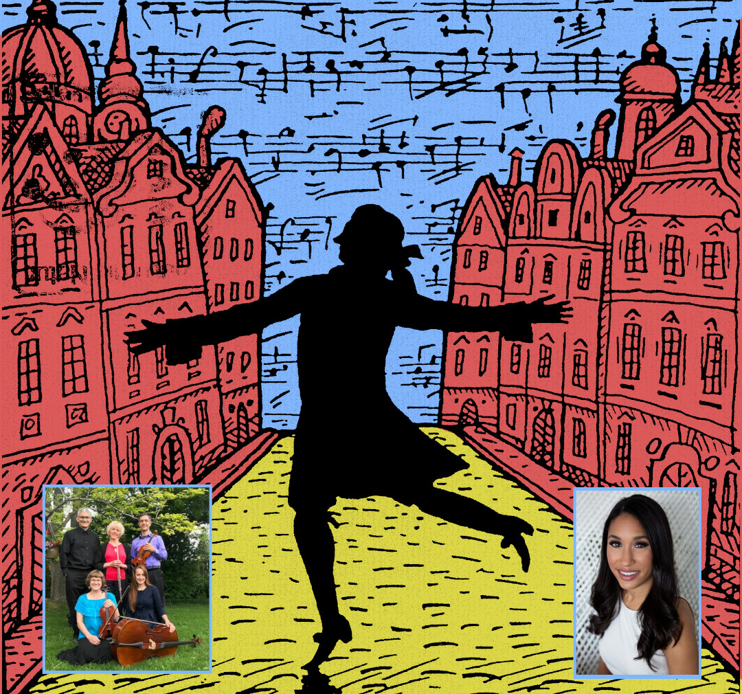 members of the heritage quintet overlayed with a graphic of mozart dancing in the streets